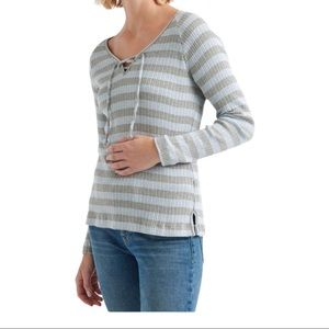 Lucky Brand ribbed lace up striped top blouse